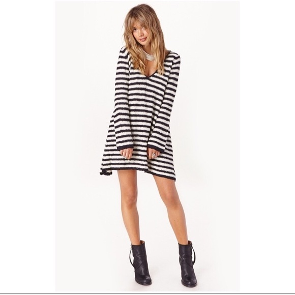 Free People Dresses & Skirts - Free people striped swing sweater tunic dress